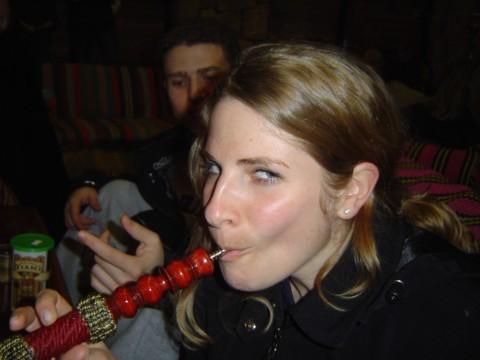Debbie_smokes_the_hooka